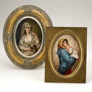 Handpainted porcelain plaques two depicting young women 19th20th c framed one signed van norden marked jgsl each 6 x 4 sight
