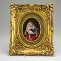 Handpainted porcelain plaque young woman in renaissance dress with infant 19th20th c framed marked k 6 34 x 5 sight