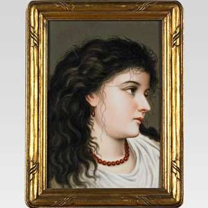 German porcelain plaque depicting a young woman with long black hair late 19th c framed 10 x 7