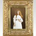Kpm porcelain plaque of a young woman holding a flower ca 1900 framed 6 14 x 8 12 plaque