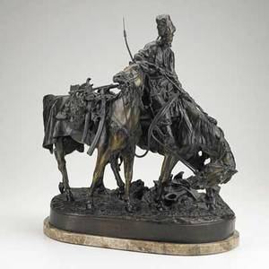 After evgeny alexandrovich lanceray russian 18481886 bronze sculpture zaporezh after battle signed with foundry mark in cyrillic 17 12 x 15 12 x 7 12