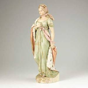 Royal dux porcelain figure of a young woman early 20th c marked 21 12 x 7 x 5 12
