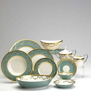Lenox complete westport 84 piece dining service for twelve with teal border and gilt garland decoration 20th c also includes 2 serving platters creamer and sugar gravy boat and 2 vegetab