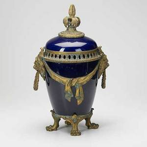 Sevres twohandled cobalt urn with bronze mounts on lions feet 19th c marked 20 x 12