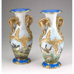 Pair of porcelain vases handpainted bird decoration with gilt snake handles 19th20th c impressed f  m mark 13 34 x 6