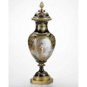 Bronze mounted porcelain urn handpainted with diana and cupid on cobalt ground mounted as a lamp 19th20th c signed e collot 28 34 x 9 12