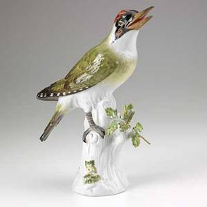 Meissen porcelain woodpecker 20th c crossed swords mark 10 34 x 4 12 x 7