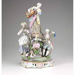 German porcelain figural group of a victorian family 19th20th c pseudomeissen mark 16 12 x 8 12