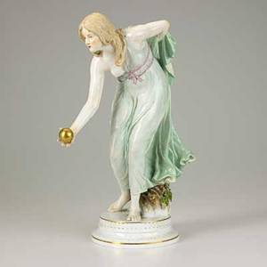 Meissen porcelain figure of a partially dressed woman with a golden orb in her hand 19th20th c crossed swords mark 14 12 x 5 12 x 10