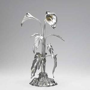 Elkington  co victorian silver plated centerpiece with calla lilies on foliate base 1854 marked 19