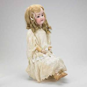 German bisque head doll simon  halbig with composition body and pierced ears early 20th c marked 25