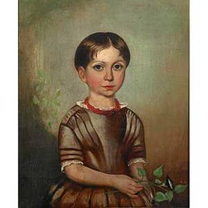 Early 19th c british school oil on canvas portrait of a young girl holding a morning glory framed 24 x 19
