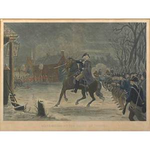 19th c american engraving handtinted image washington at the battle of trenton after the painting by el henry engraved by illman bros philadelphia 1870 framed 22 12 x 17 sight