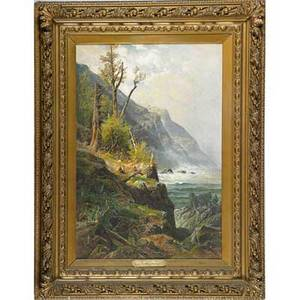Carl philip weber american 18501921 oil on canvas of crashing waves in mountainous landscape 1892 framed signed and dated 24 x 36