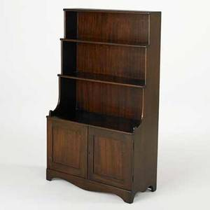 English stepdown bookcase mahogany with cabinet section below 19th c 43 x 25 x 11 12