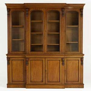 English breakfront walnut with glass doors over cabinet section below 19th c 89 12 x 83 x 21