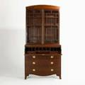 Georgian secretary bookcase twopiece in mahogany with mullioned glass doors over four drawers with butlers desk section early 19th c 88 x 42 x 19 12