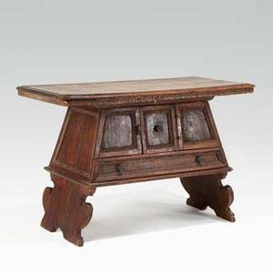 Continental cabinet walnut with one drawer beneath cabinet section 18th c 27 12 x 41 x 20