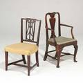Two american mahogany sidechairs queen anne armchair with pad feet and stretcher base together with federal side chair 18th19th c larger 38 x 24 x 20 12