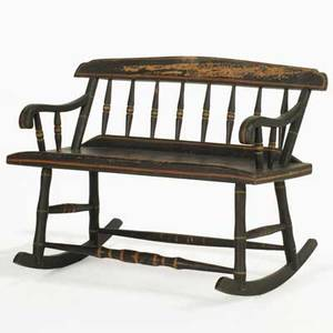 Nursing bench ebonized wood with rockers traditionally called a mammys bench 19th c 31 x 42 x 30
