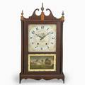 Pillar and scroll clock mahogany case with wooden works ca 1820 signed wadsworth lounsbury and turners 31 38 x 16 58 x 4 34
