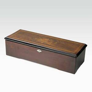 Swiss cylinder music box 13 cylinder in ebony and rosewood case with marquetry inlay ca 1900 23 x 9 x 6