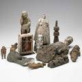 Ethnographic items twelve include kachina doll precolumbian wood figures asian tile creche figures etc 18th19th c tallest 17
