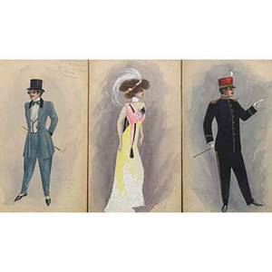 Will r barnes american 20th c fifteen watercolor and ink costume illustrations for the new york production queen of the moulin rouge 19081909 signed each approx 12 x 8