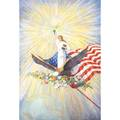 Caroline gilbert american 20th c oil on canvas illustration of liberty borne on the wings of an eagle with flower and flag signed 60 x 48