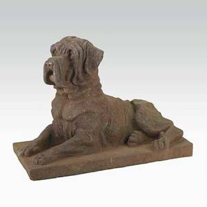 Cast iron mastiff traces of paint 20th c 15 x 20 12 x 10 34