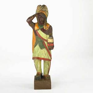 Cigar store indian carved wood with polychrome decoration 20th c 59 x 19 x 11