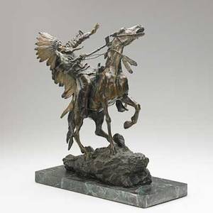 Bronze sculpture native american warrior on horseback with coldpainted headdress mounted on green marble base 20th c unsigned 16 12 x 11 x 5 12 without base