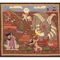 Navajo pictorial weaving depicting the creation story by hyden tsosie 20th c 36 x 44