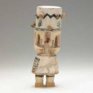 Hopi kachina cottonwood with polychrome decoration depicting tokoch the wildcat 20th c losses 11