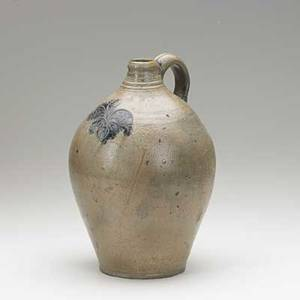 American stoneware jug incised with abstract floral decoration with cobalt accents early 19th c attributed to remmey new york 11 12