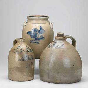 New jersey stoneware two with cobalt decoration 19th c aj butler new brunswick 2 gallon jar and semiovoid milltown peddlers 3 gallon jug taller 12
