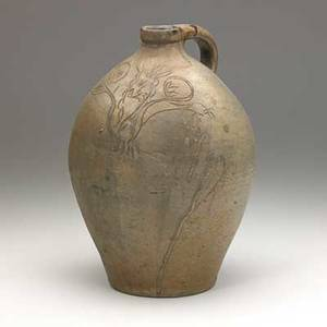 New jersey stoneware jug ovoid 1 12 gal jug with incised floral and sprig decoration dated 1823 11 12