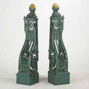 Pair of cast iron corbels foliate design with pineapple drop 20th c 72 12 x 15 x 17