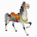 Dentzel style carousel horse prancer model carved by chuck rutter with polychrome decoration and glass eyes 20th c 62 x 62 x 13