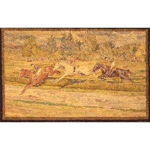 Mary smyth perkins taylor american 18751931 hooked rug depicting an equestrian scene mounted on stretcher early 20th c 58 x 78 note born in philadelphia perkins attended the philadelph