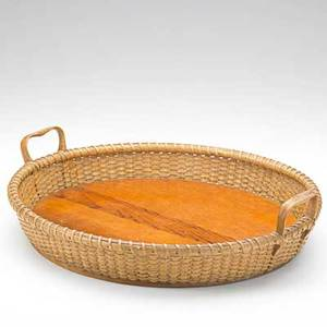 Jose formoso reyes nantucket open basket tray woven sides with wood bottom and two oak handles 20th c marked made in nantucket jose formoso reyes 17 dia