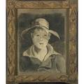 Tramp art frame early 20th c with charcoal drawing of a young boy illegibly signed 22 12 x 29 inside 29 x 35 outside