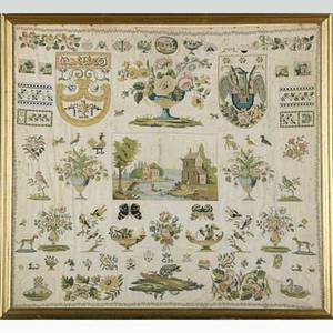19th c continental needlepoint sampler various designs and decorations include shields animals and flowers initialed cm framed 19 12 x 21 12