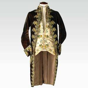 Gentlemans court suit silk waistcoat with embroidered floral design and overcoat in manchester velvet with embroidered stylized floral motif decoration late 18thearly 19th c coat 42 provenan