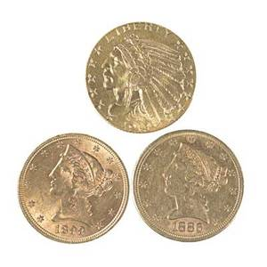Us 5 gold coins three all au50 1886s 1899 and 1913