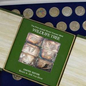 Coins and silver bullion approx 42 pcs the first annual mt everest mint wildlife tree6 1 ot 999 fine bars john f kennedy 12 dollar collection 1964  1997 etc