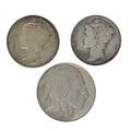 Us coins approx 230 pcs 51 buffalo nickels 1914o 1914s 1919d 1924s 1931s 70 mercury dimes 1916d 1921 1921d 1926s and 109 washington quarters 1932d 26 total face silver