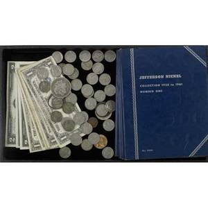 American coins and currency approx 150 include 1835 large cent 1883s silver dollar wartime nickels wheat pennies indian cents etc