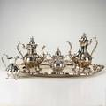 Reed  barton silver plate 20th century four piece partial coffee service winthrop missing sugar bowl oval king frances serving tray 30 over handles