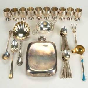 American and foreign silver sterling tea caddy sterling berry spoon 7 14 mexican sterling flask 4 x 6 gilt and champleve sauce spoon 5 14 2 olive spoons 12 chinese demitasse spoons